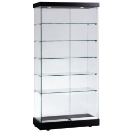 Tall glazed floor display cabinet available in white, black, wenge or beech