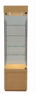 Tall glazed floor display cabinet with wooden top, spotlights and wooden base storage unit