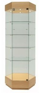 Glazed tall hexagonal floor display cabinet with wooden base and top and spot lights